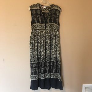 Vintage Indian Cotton Block Print Midi Dress